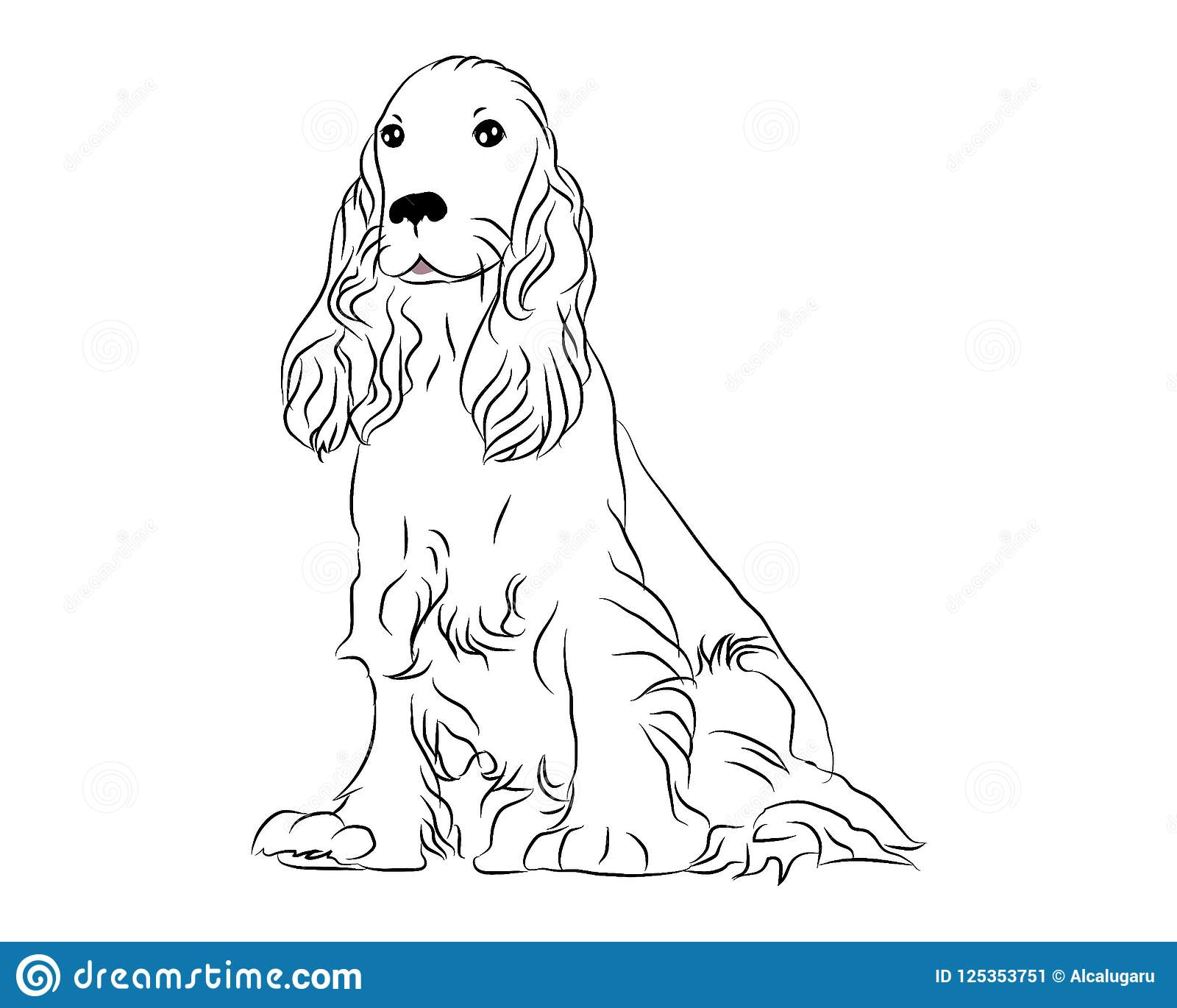 Cocker Spaniel Cute Dog Coloring Page Stock Vector Illustration Of Beauty Children 125353751