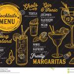 Cocktail Menu For Bar Drink Template Stock Vector Illustration Of Graphic Flyer 110458567