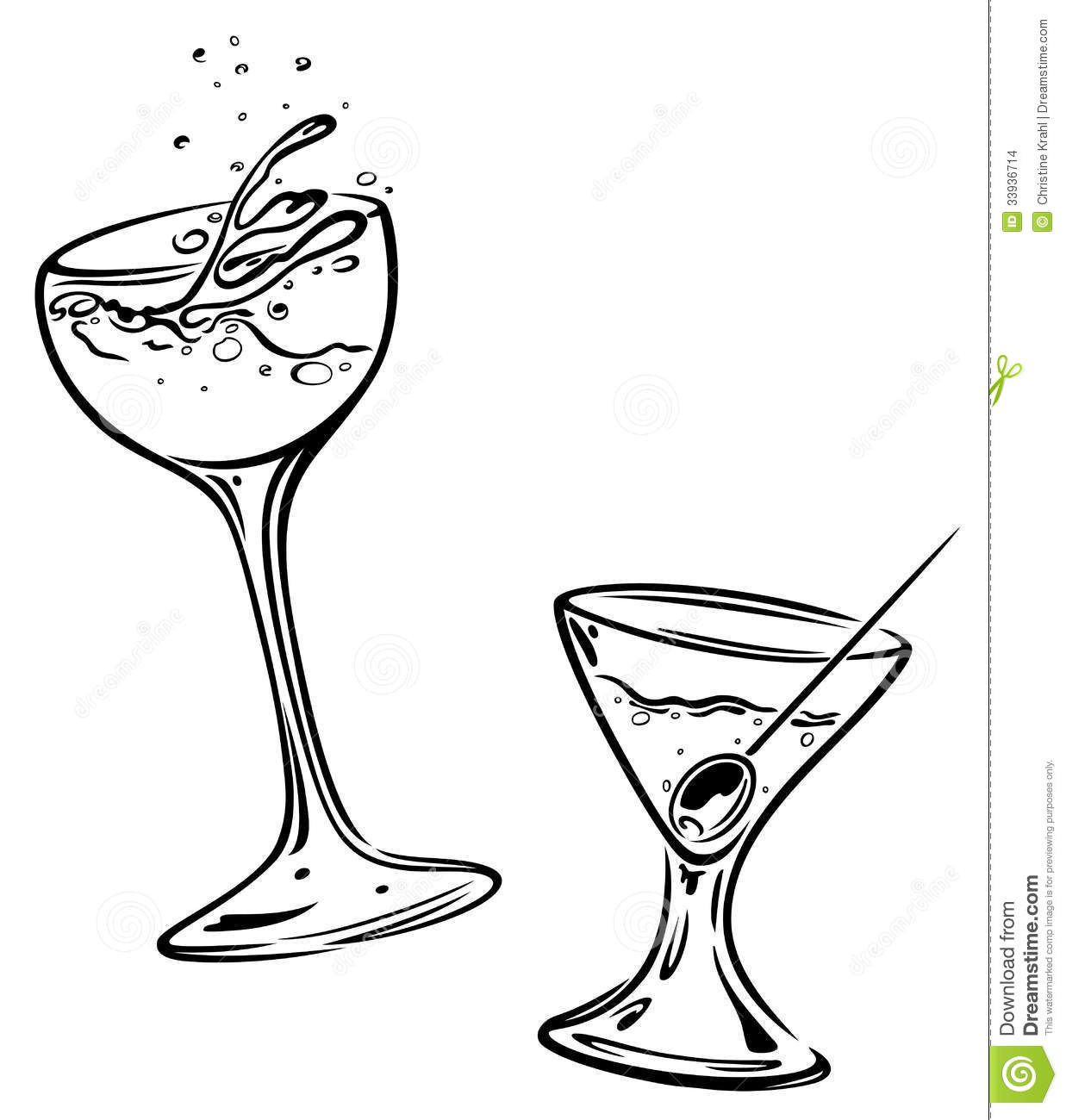 Cocktails Glasses Stock Vector Illustration Of Cold