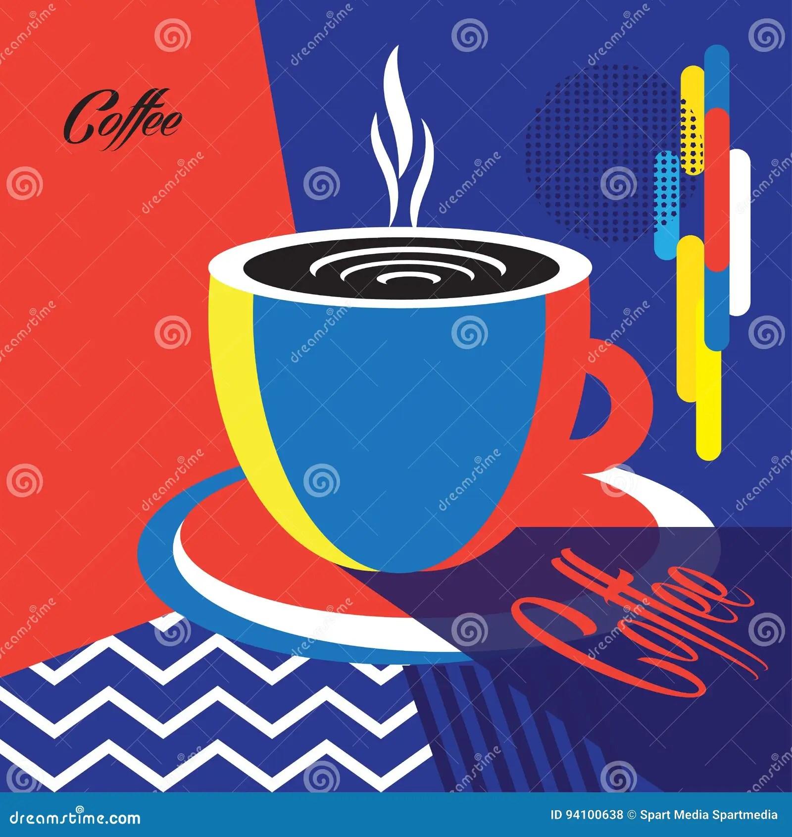 coffee cup logo design trendy pop art poster illustration 94100638 megapixl