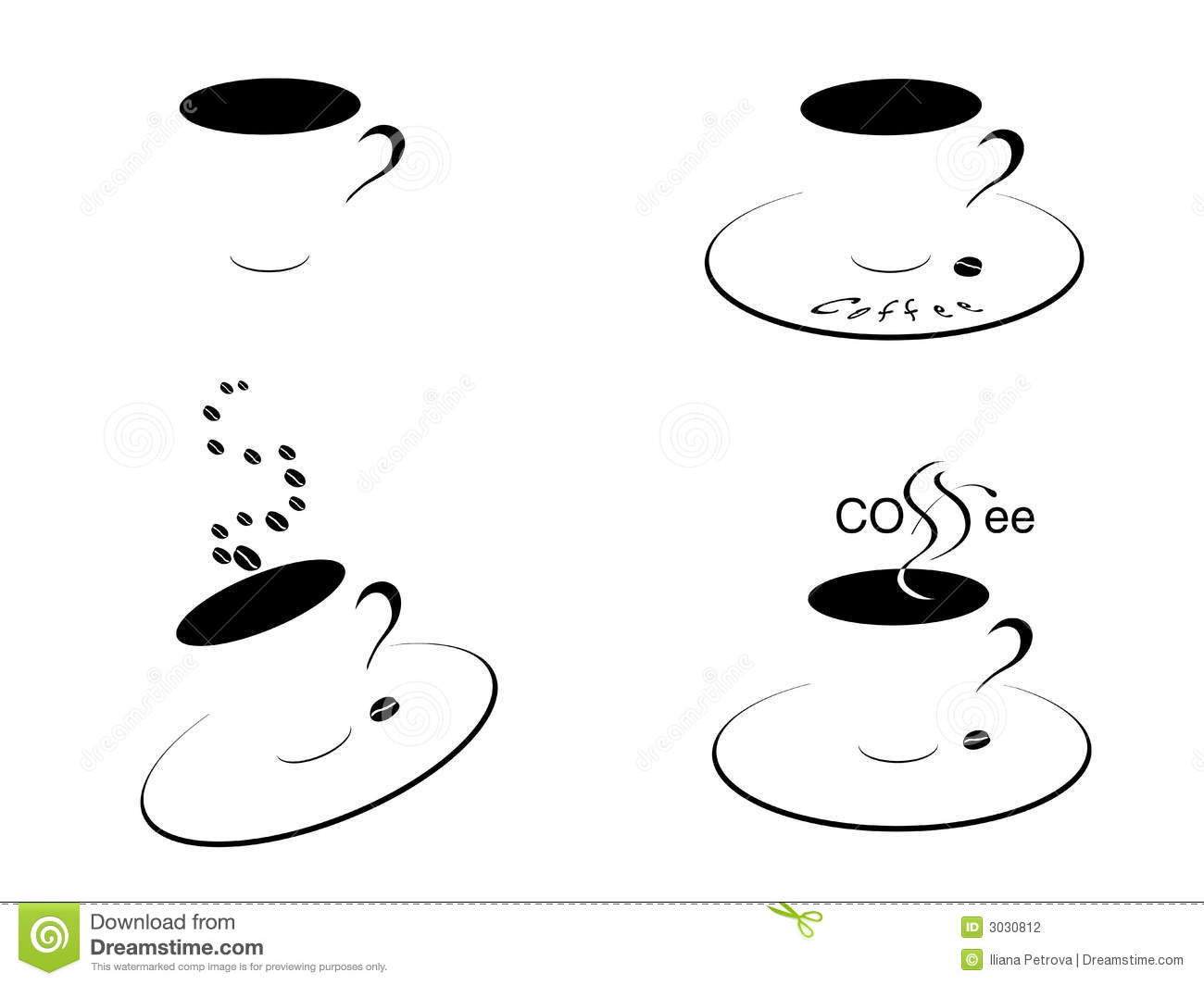 Coffee Cups Black And White Stock Vector