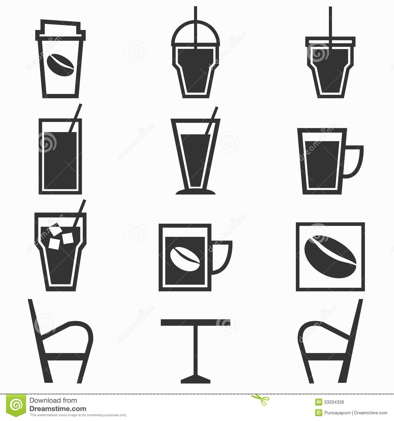 Coffee Drinks Icons In Coffee Shop On White Backgr Stock