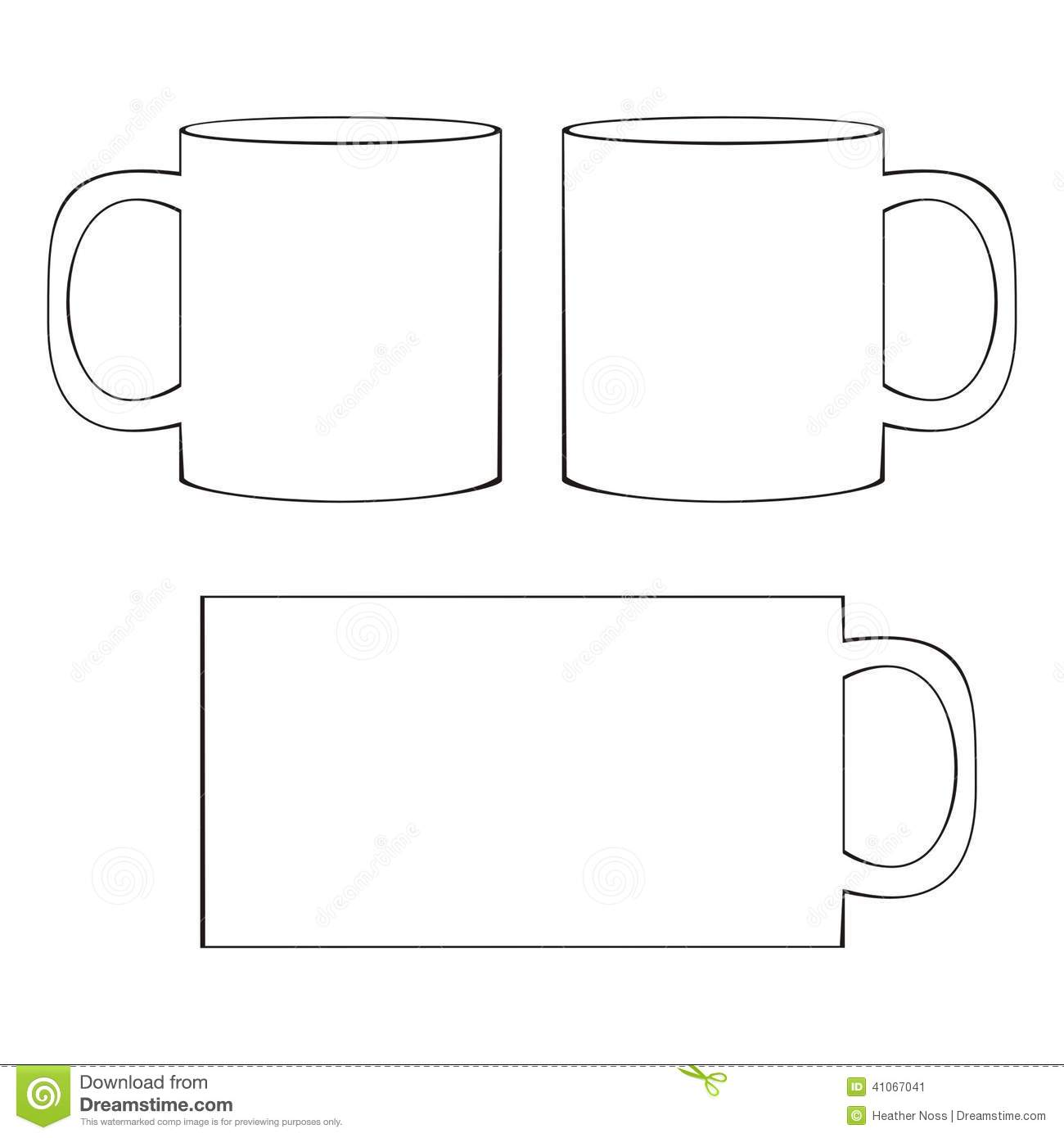 Coffee Mug Template Blank Cup Stock Vector