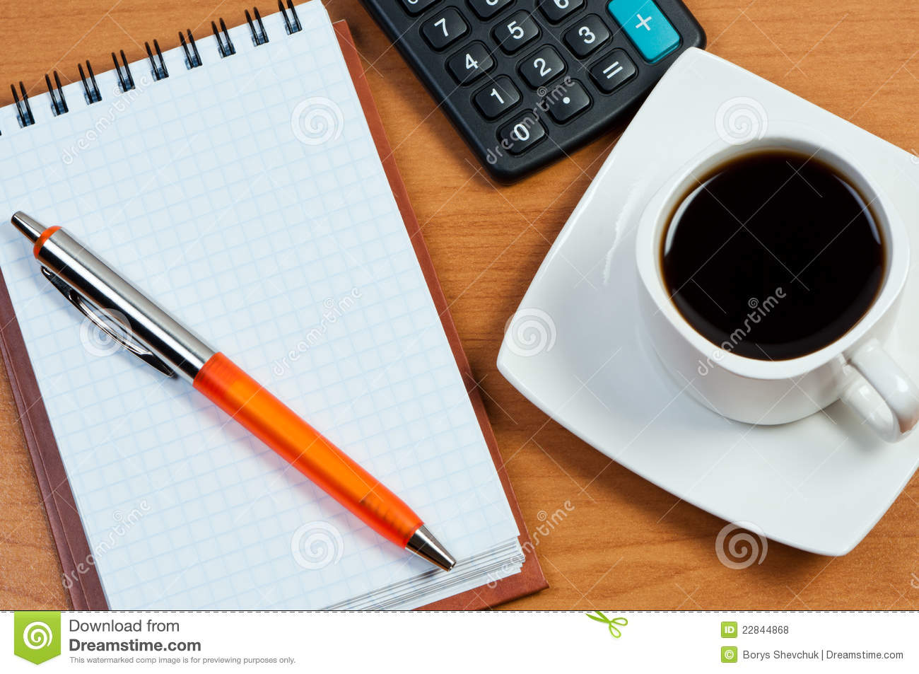 Coffee Notepad And Pen On Table Royalty Free Stock