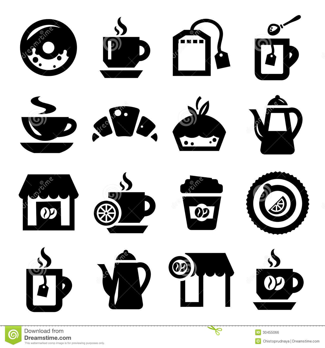 Coffee And Tea Icons Set Stock Vector Illustration Of