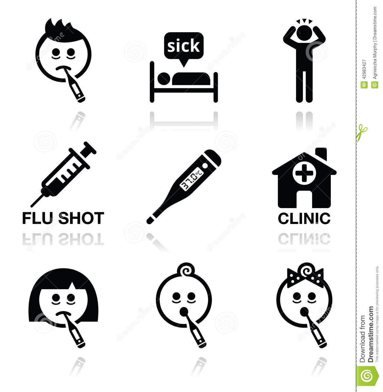 Cold Flu Sick People Vector Icons Set Stock Vector