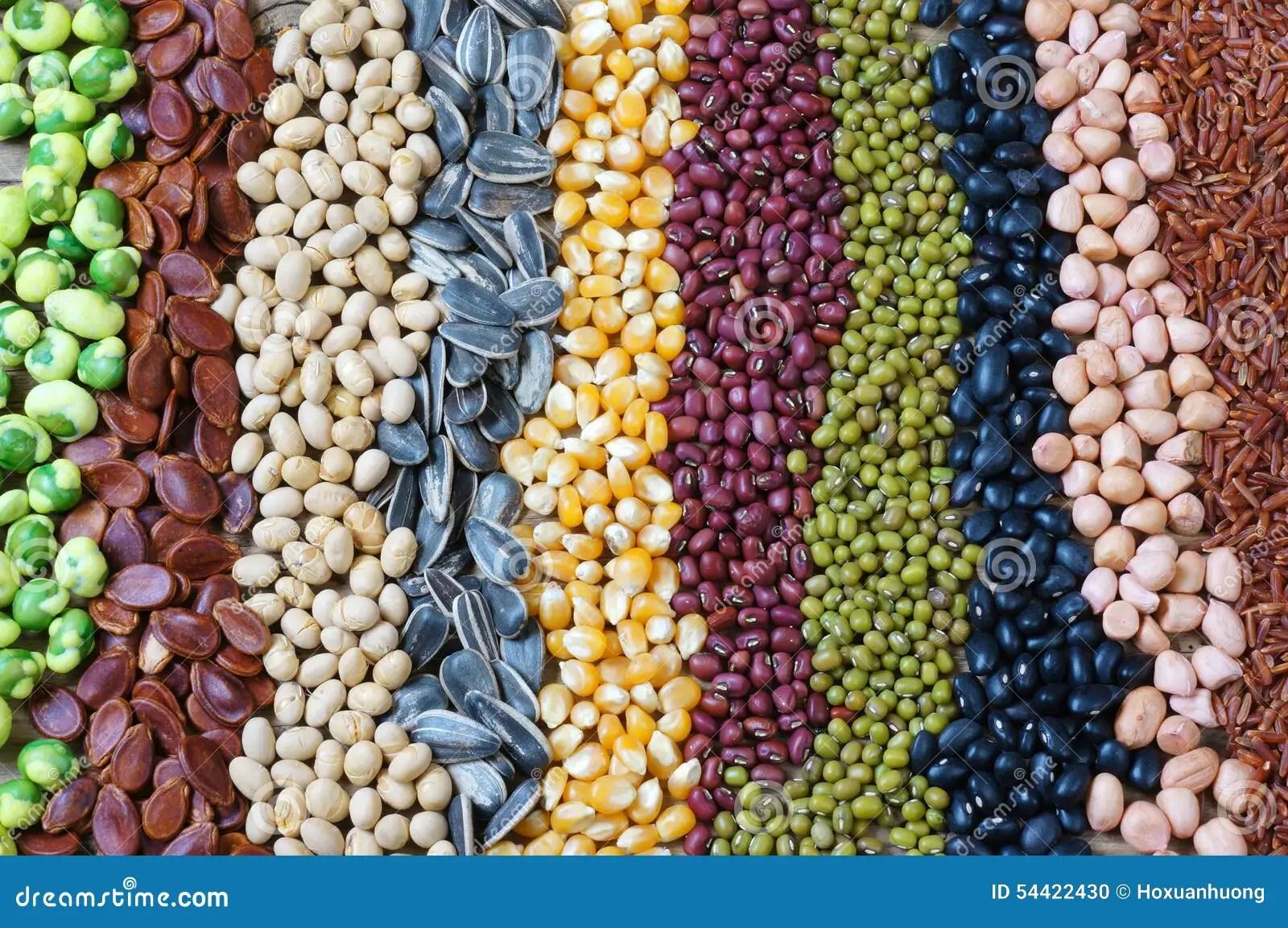 Colecao Da Grao Cereal Semente Feijao Foto De Stock