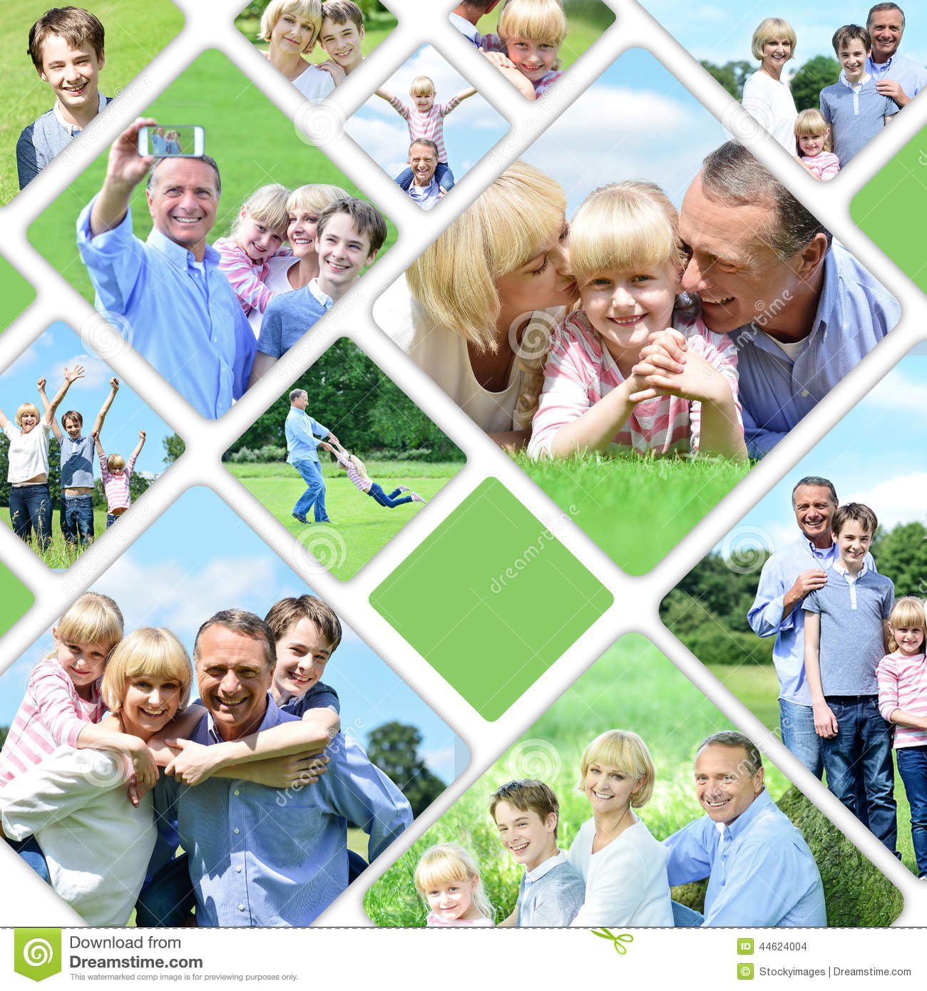 Collage Of Happy Family Pictures Stock Photo