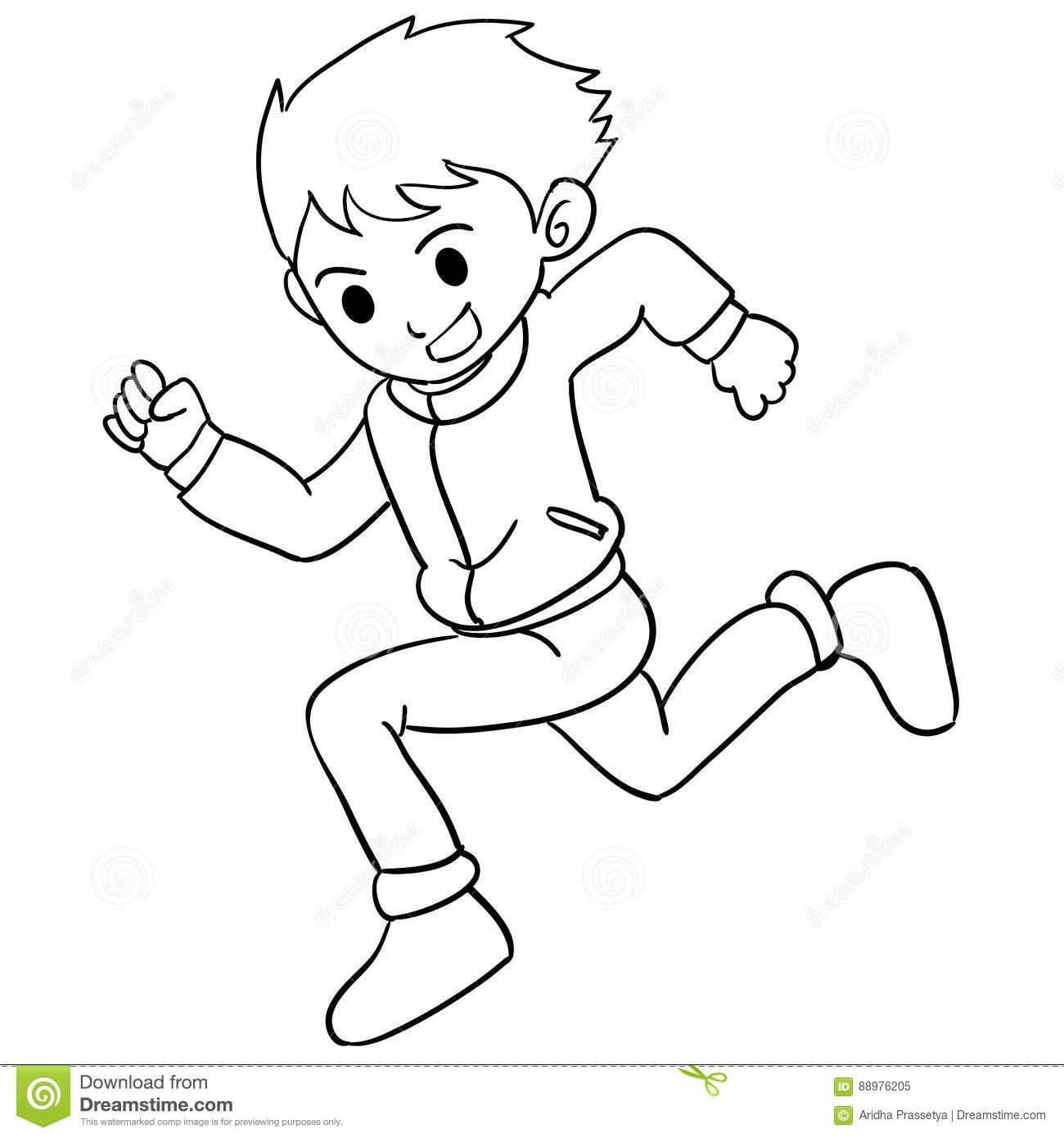Collection Of Boy Running Character Stock Vector