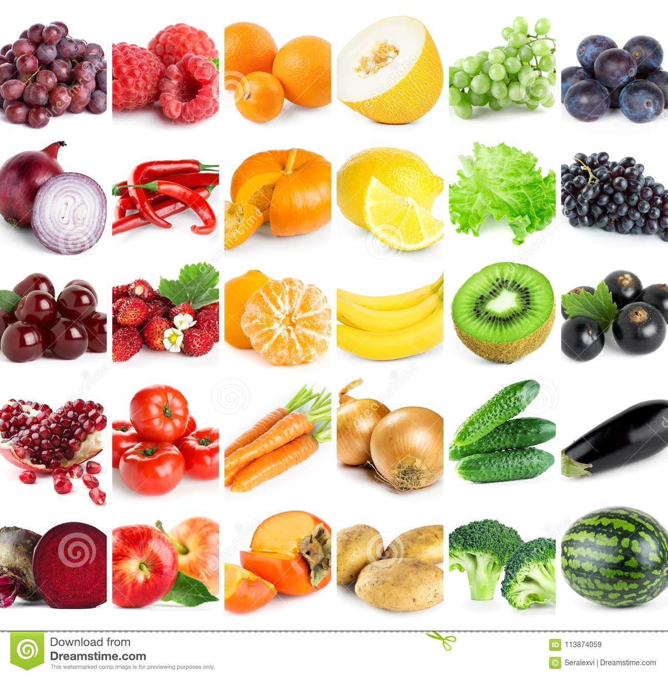 Collection Of Color Fruits And Vegetables Stock Image