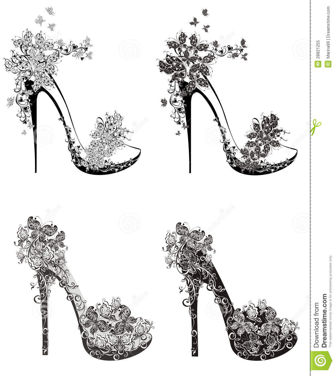 Collection Of Fashion High Heels Shoes Stock Vector