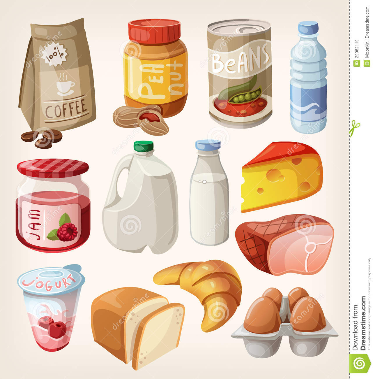 Collection Of Food That We Buy Or Eat Every Day Stock