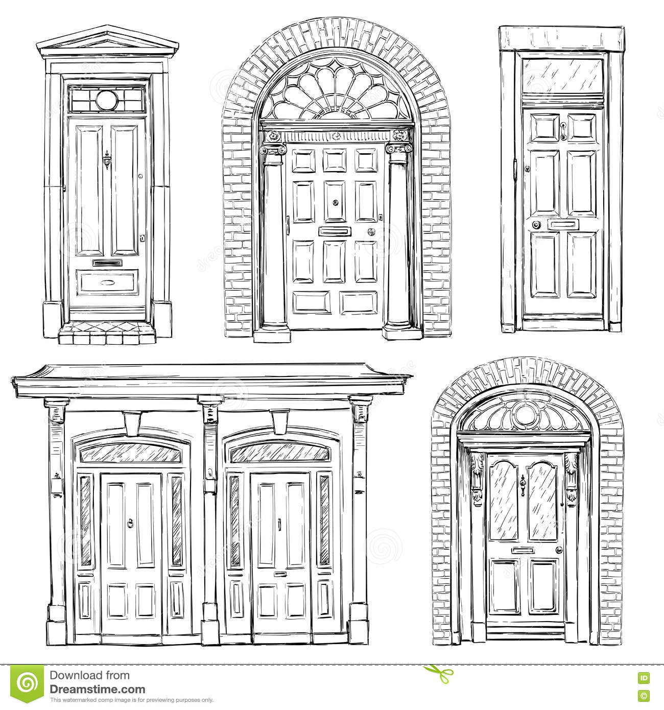 Collection Of Hand Drawn Vintage Doors Stock Vector