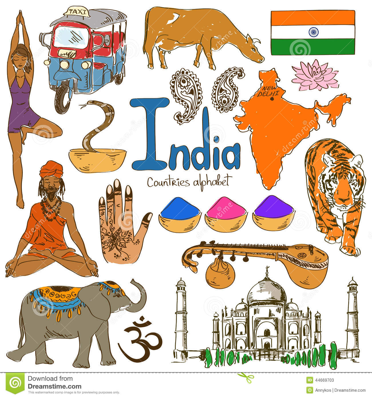 Collection Of India Icons Stock Vector Illustration Of