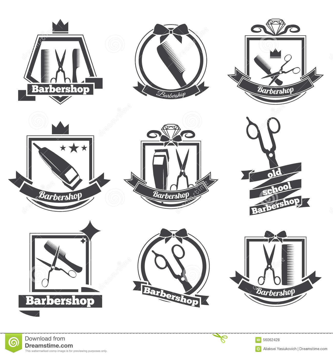 Collection Logo Barbershop Stock Vector Illustration Of