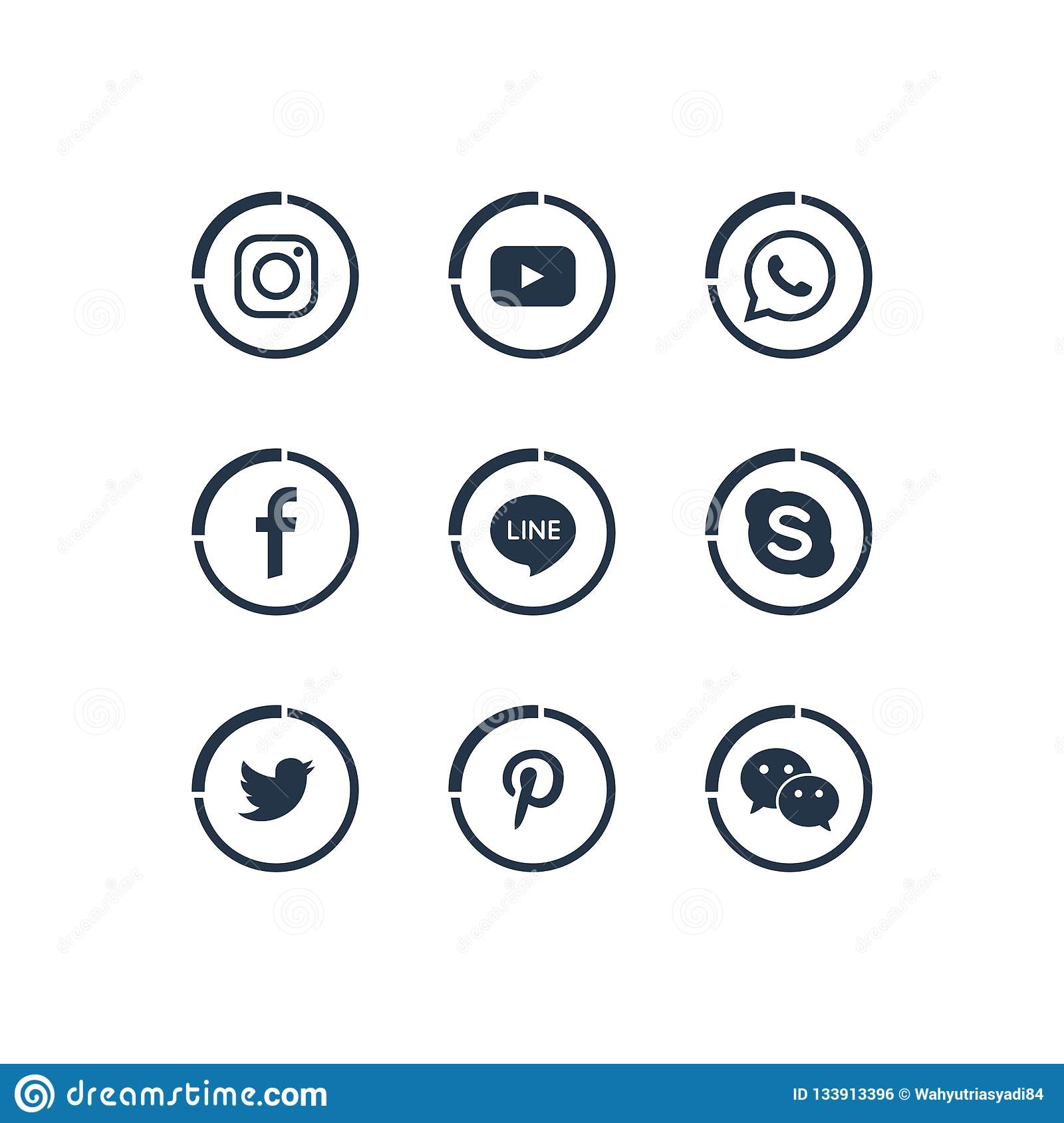A Collection Of Popular Social Media Icons Vector Template