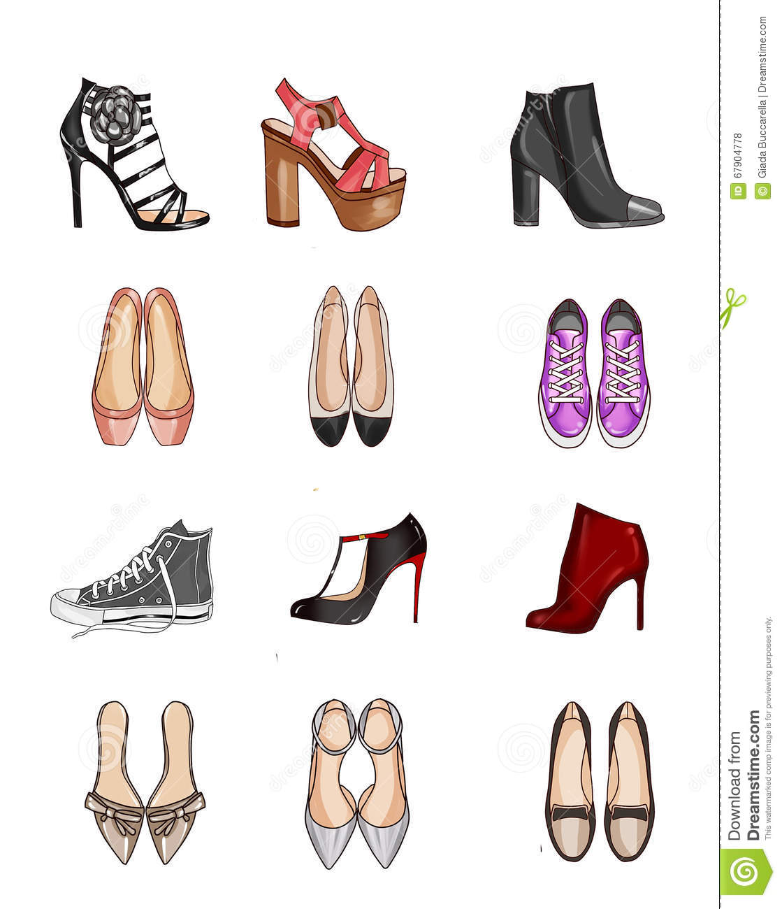 Collection Of Types Of Shoes Stock Illustration