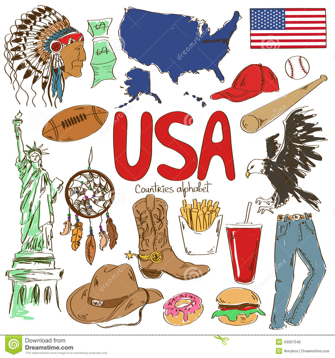 Collection Of Usa Icons Stock Vector Illustration Of