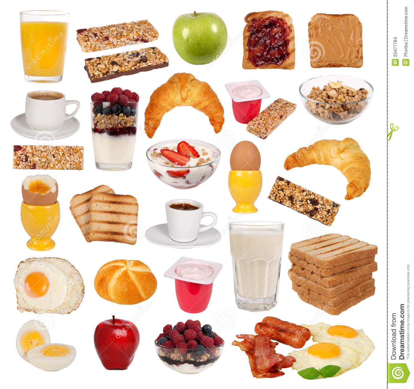 Collection Of Various Types Of Breakfast Stock Photo