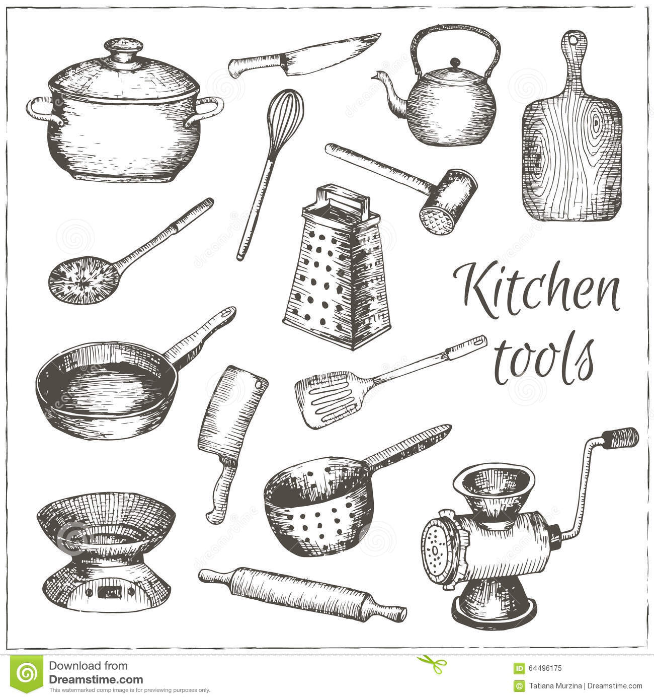 Collection Of Vector Hand Drawn Kitchen Tools Stock