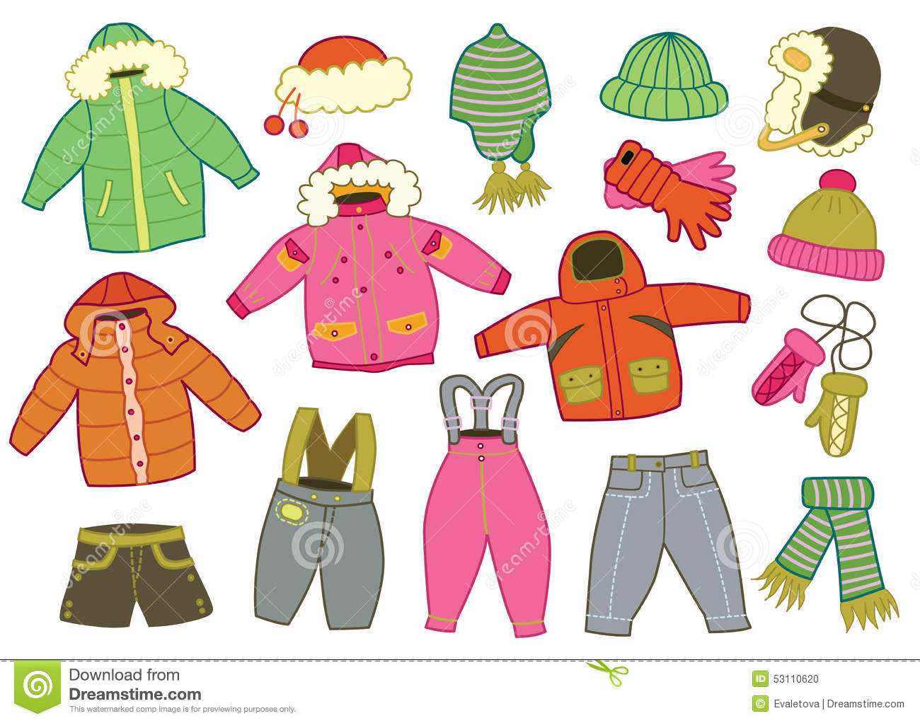 Collection Of Winter Children S Clothing Stock Vector