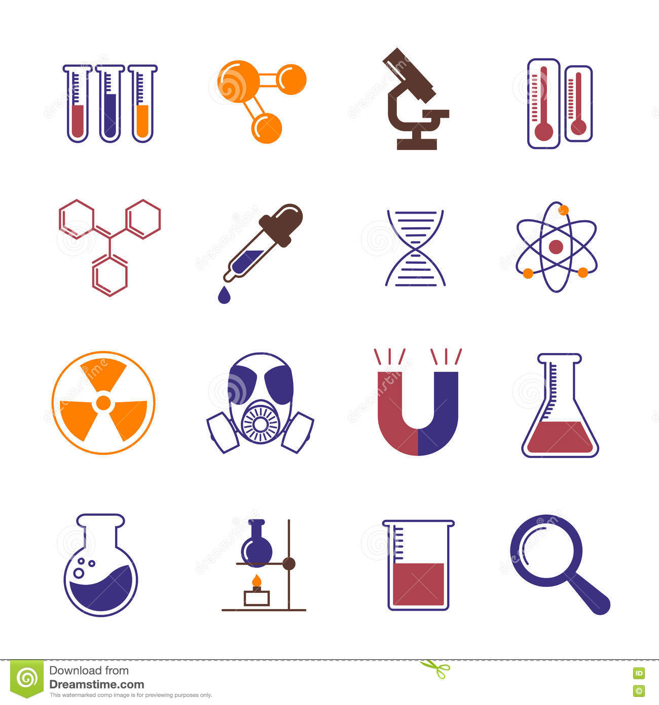 Color Chemistry Research And Science Vector Icons Stock