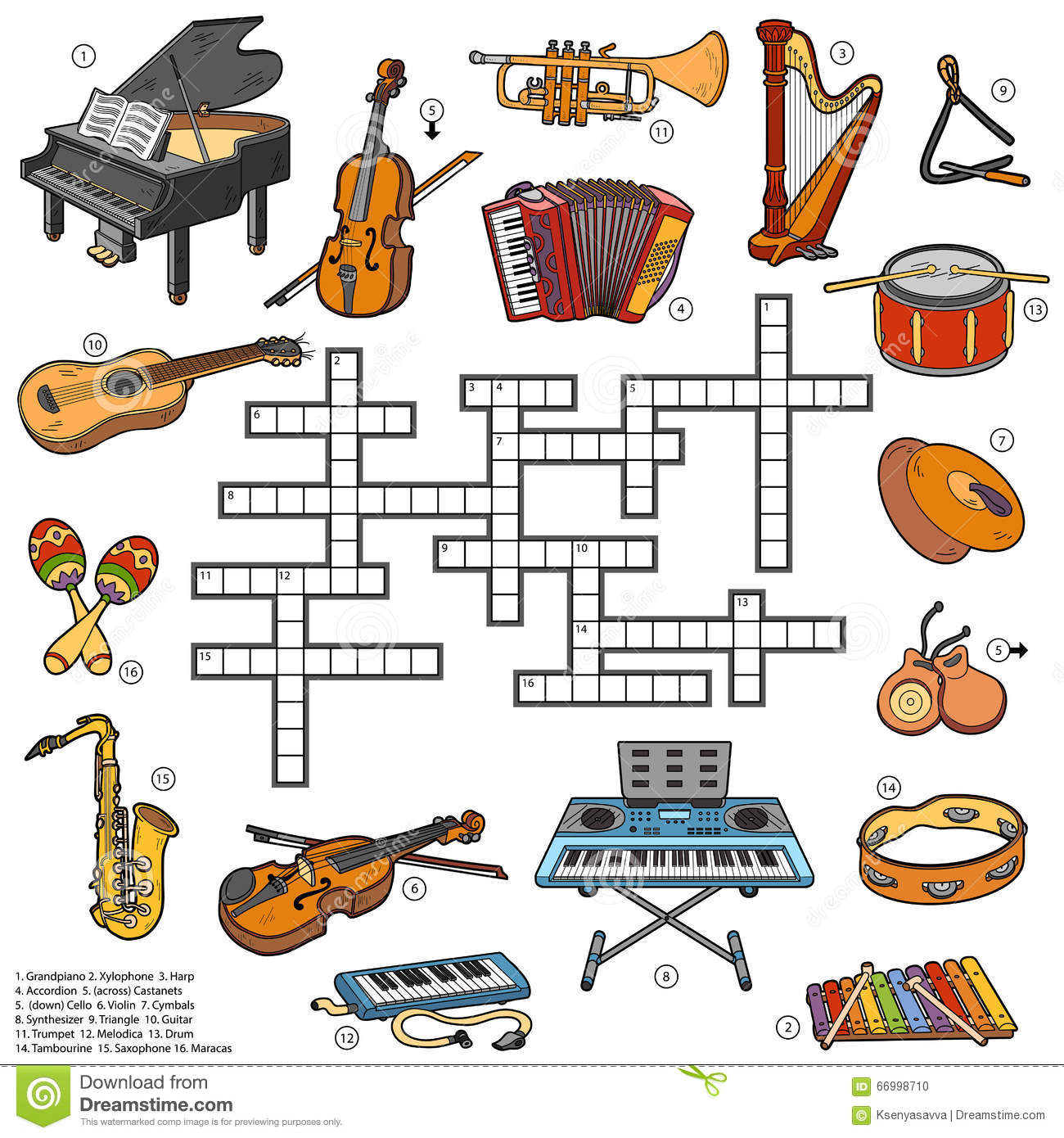 Color Crossword About Music Instruments Stock Vector