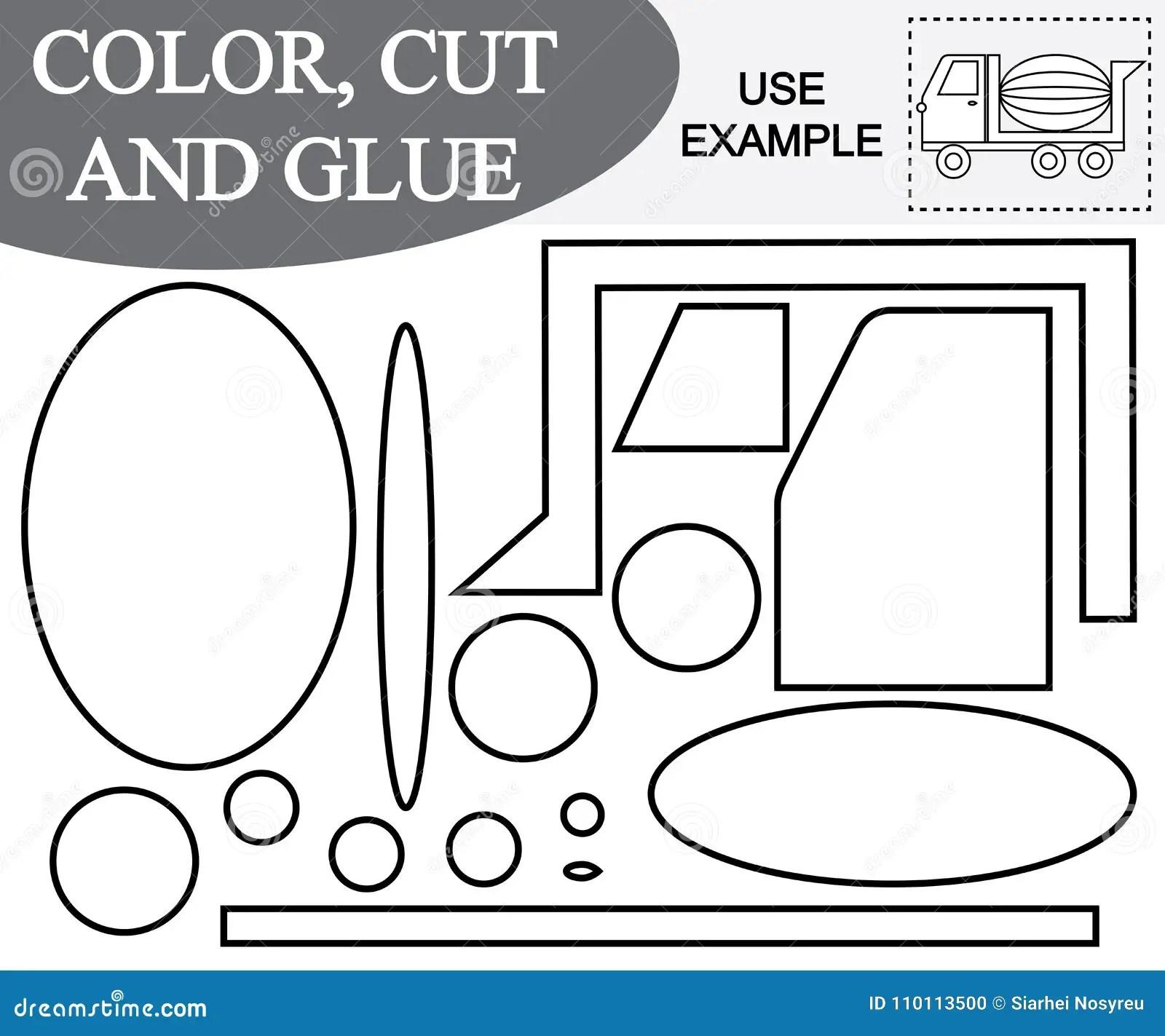 Color Cut And Glue Concrete Mixer Stock Vector