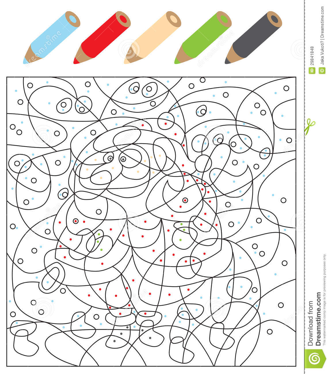 Color The Dots Visual Game Stock Vector Illustration Of