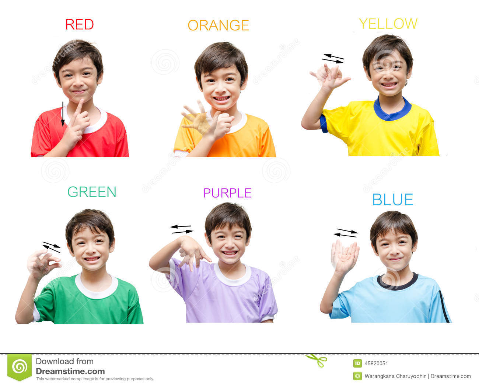 Color Kid Hand Sign Language Stock Image
