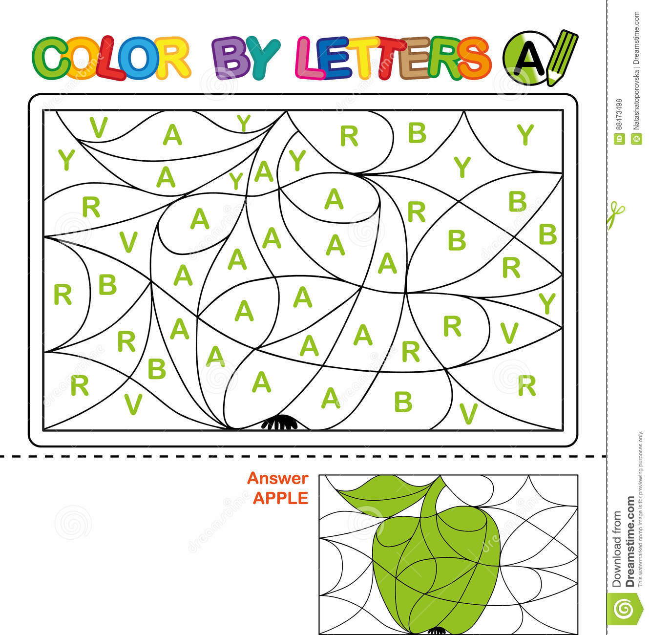 Color By Letter Puzzle For Children Apple Stock Vector