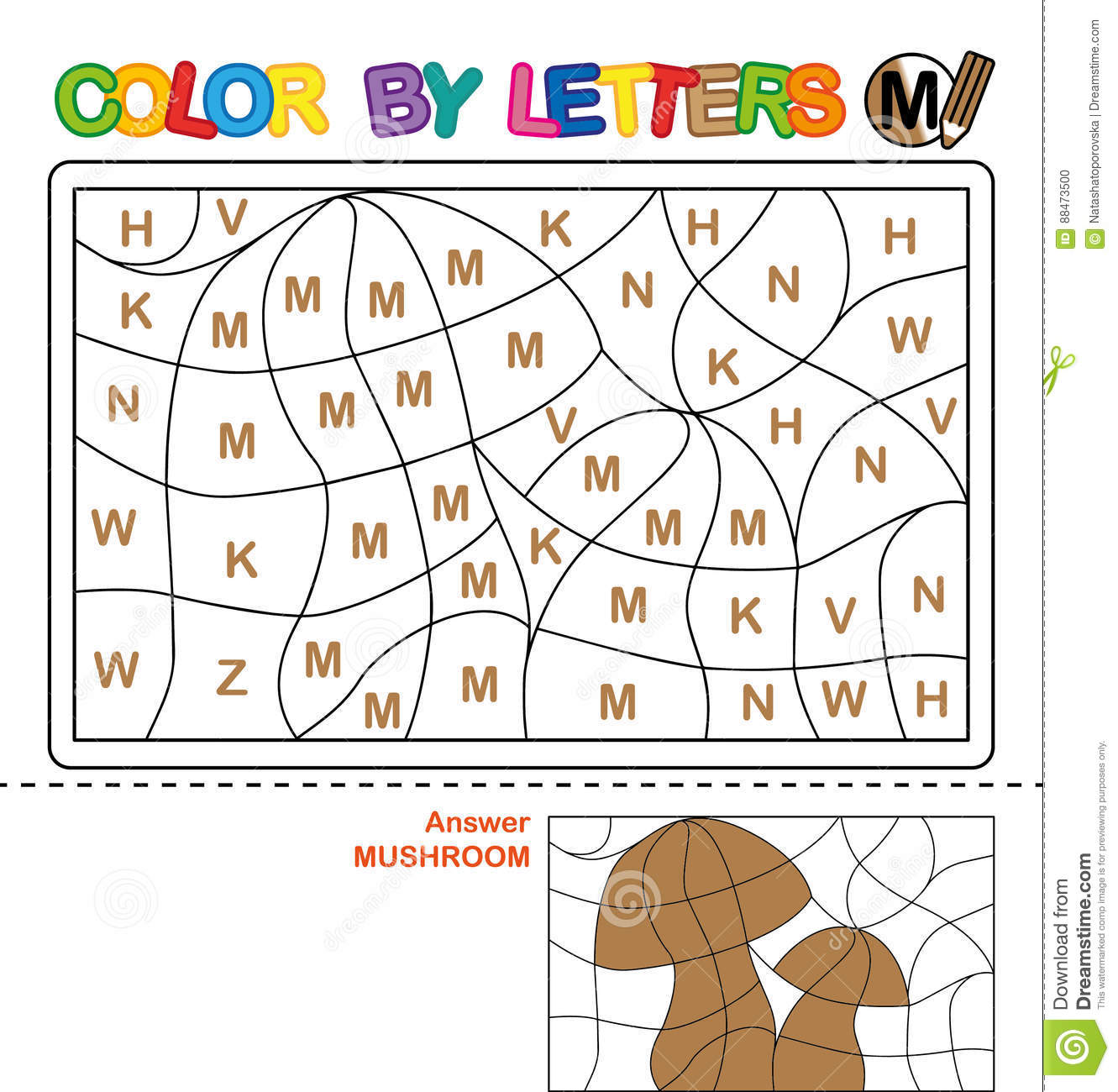 Color By Letter Puzzle For Children Mushroom Stock