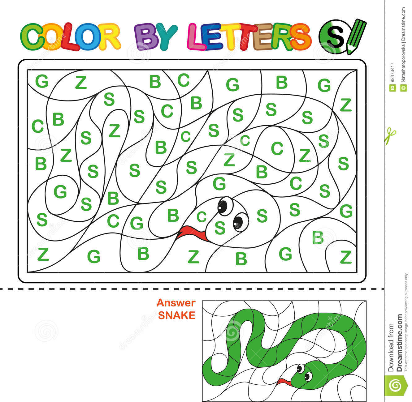 Color By Letter Puzzle For Children Snake Stock Vector