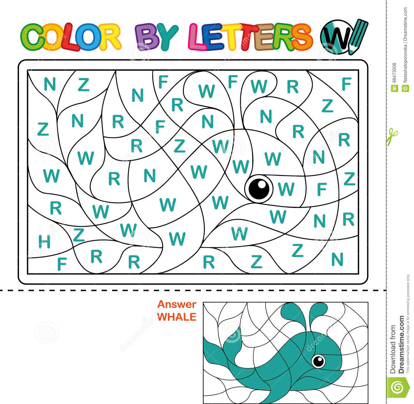 Color By Letter Puzzle For Children Whale Stock Vector