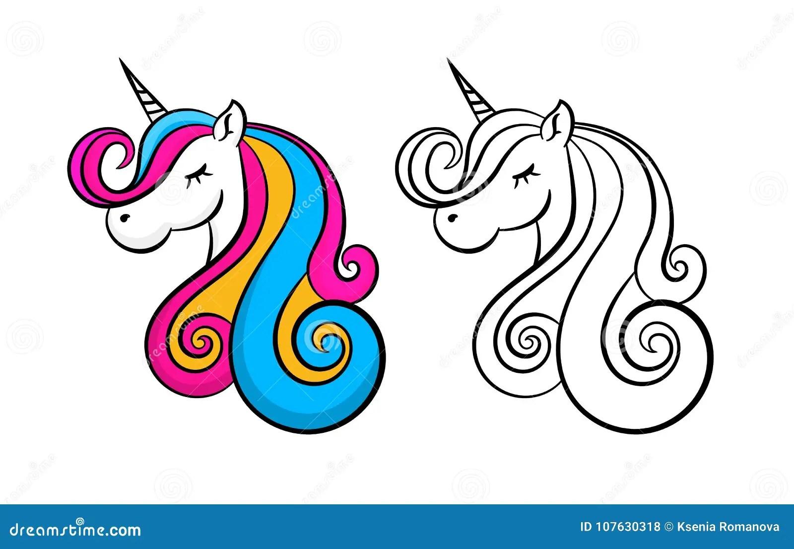 Color Lovely Unicorn Outline Contour Head Portrait