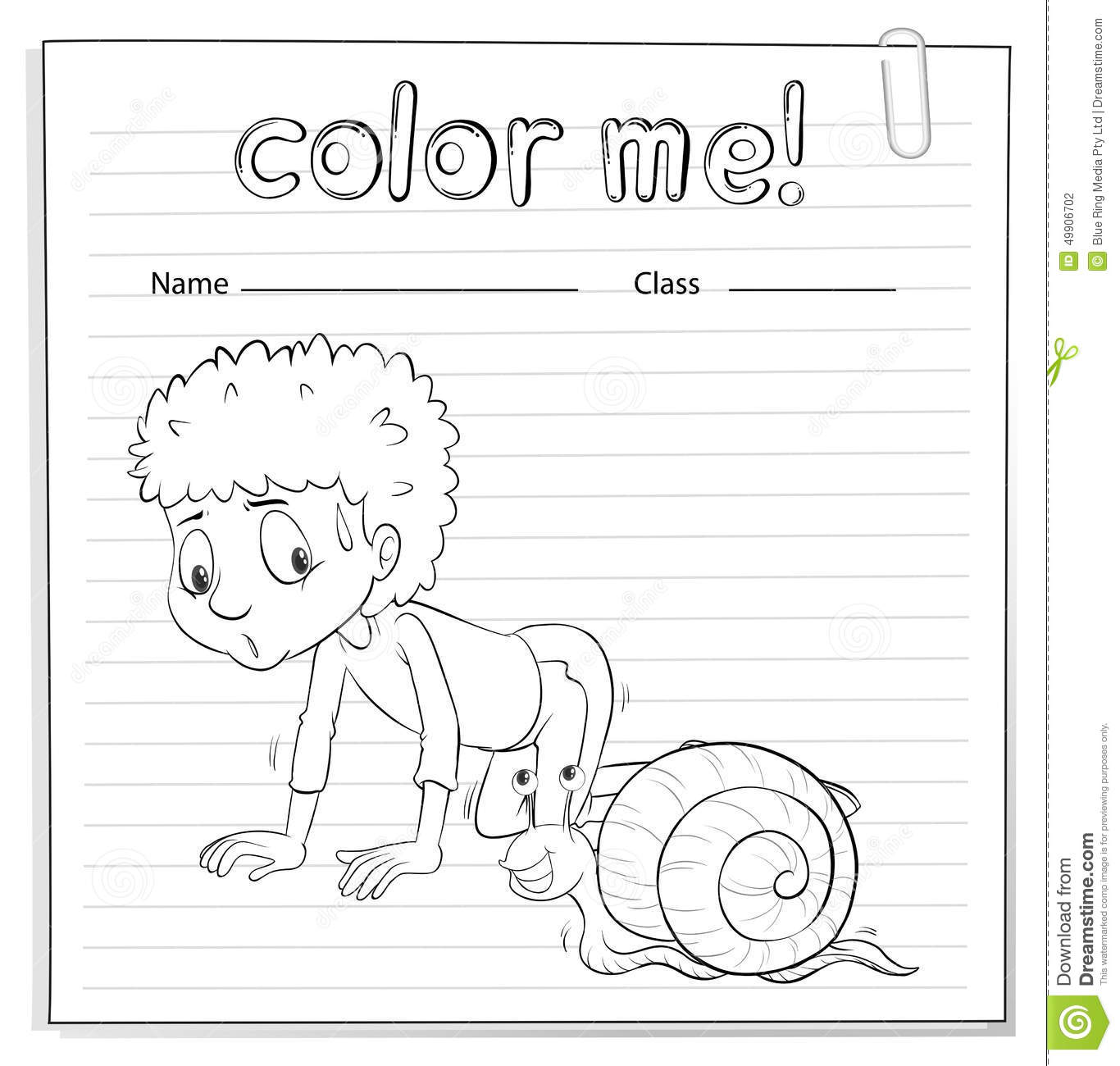 A Color Me Worksheet With A Kid And A Snail Stock Vector