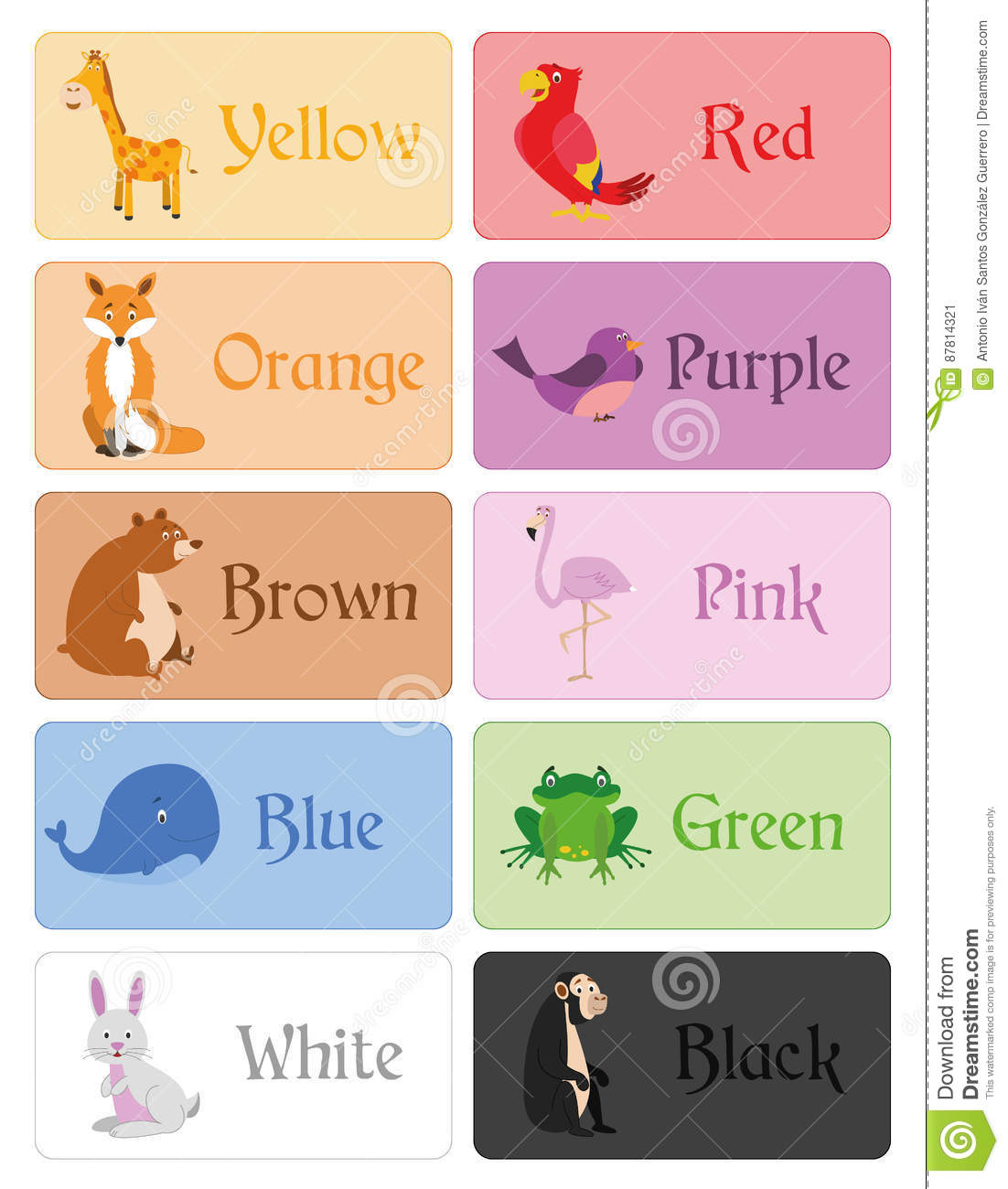 Color Names Vocabulary In English For Primary Education
