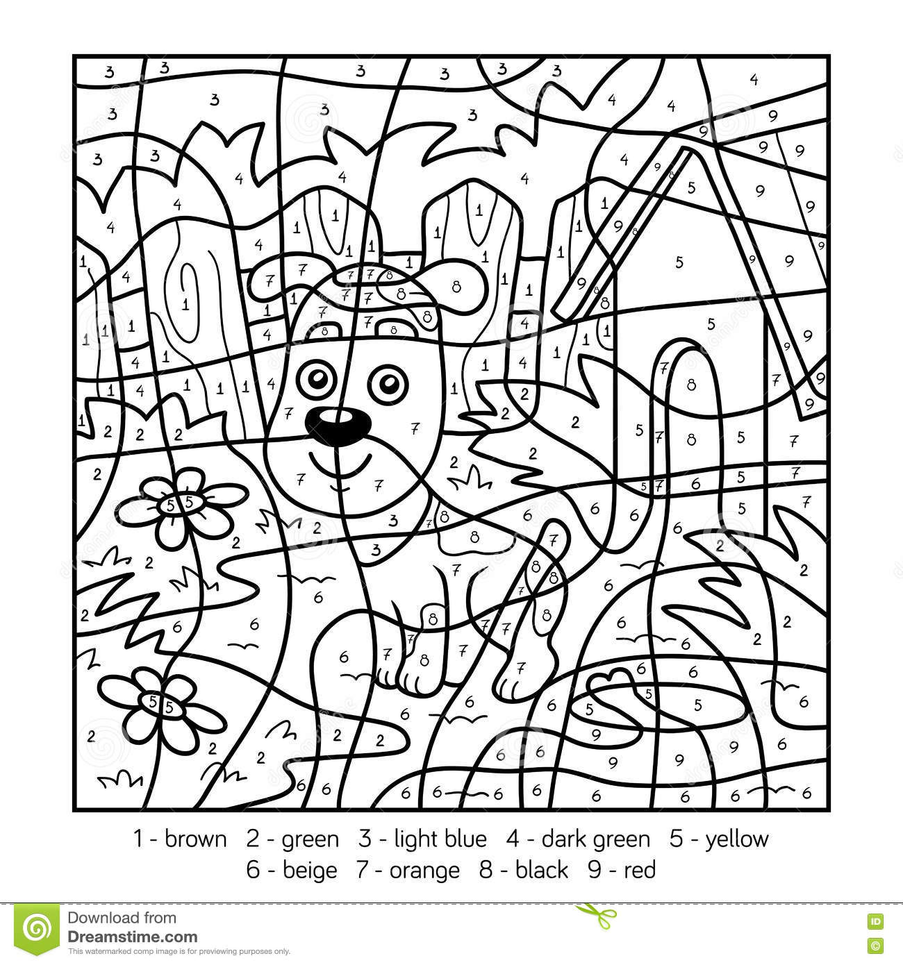 Color By Number Coloring Pages Dogs Only Coloring Pages