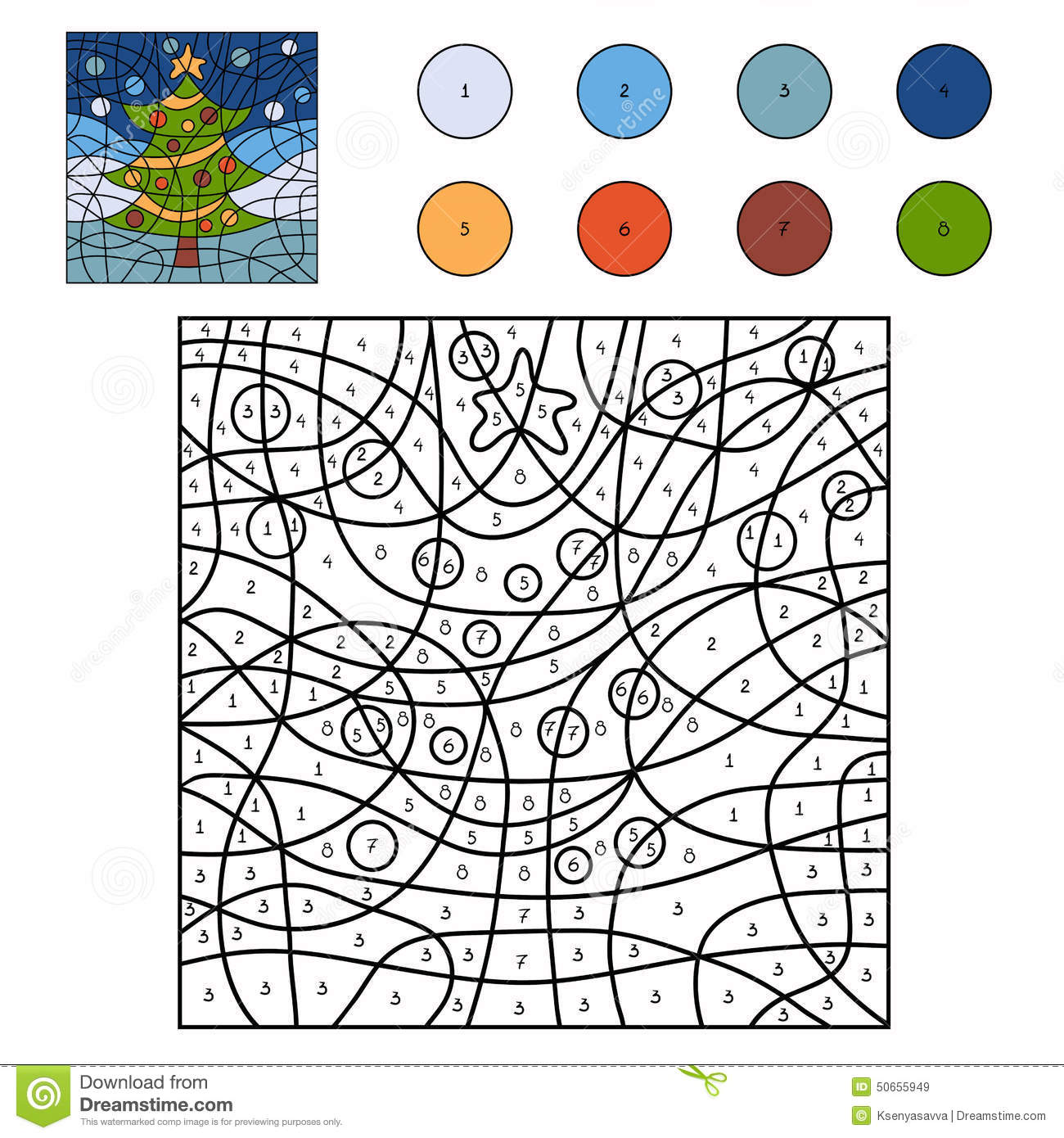 color by number christmas tree stock vector image 50655949