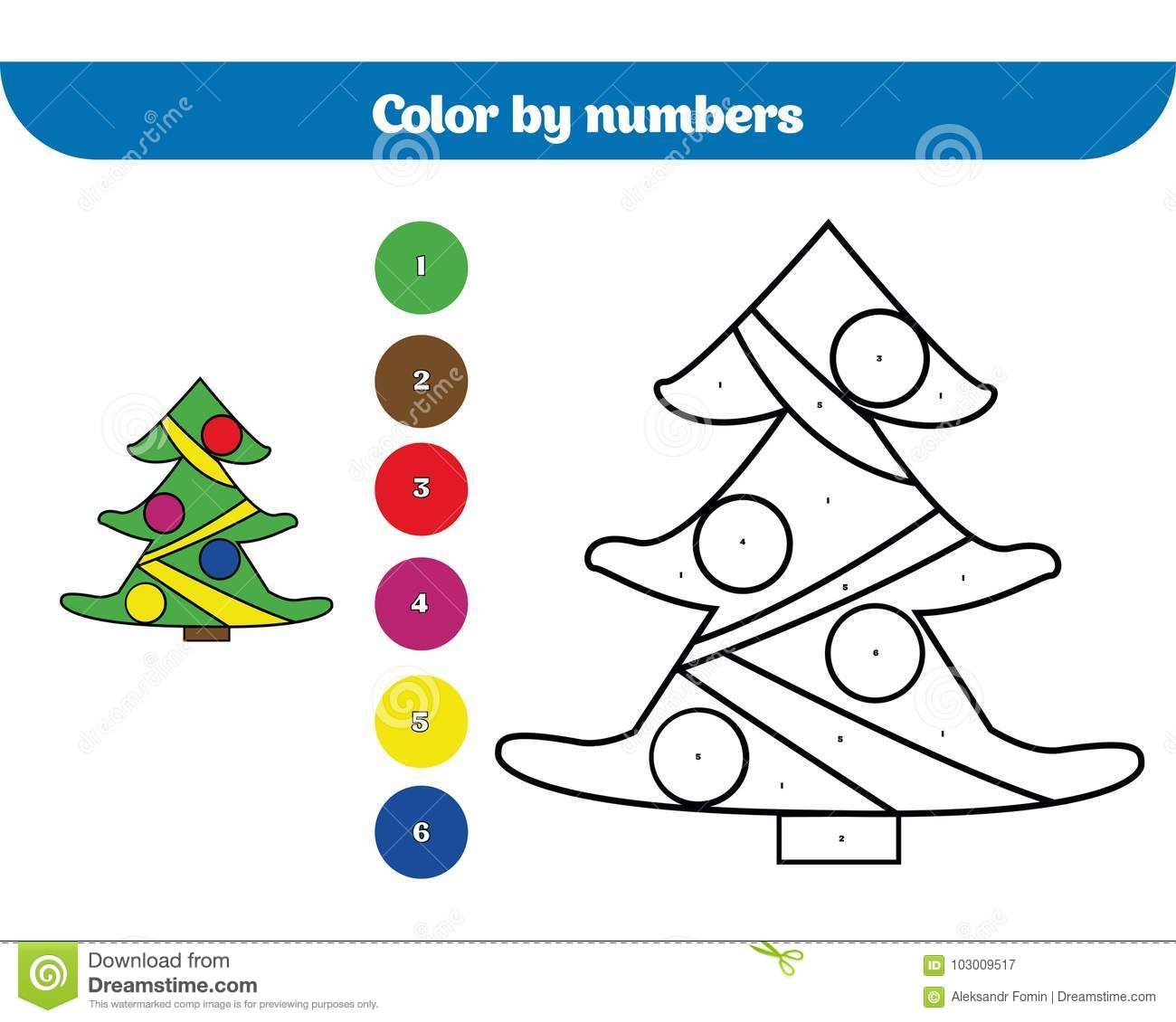 Color By Number Education Game For Children Coloring
