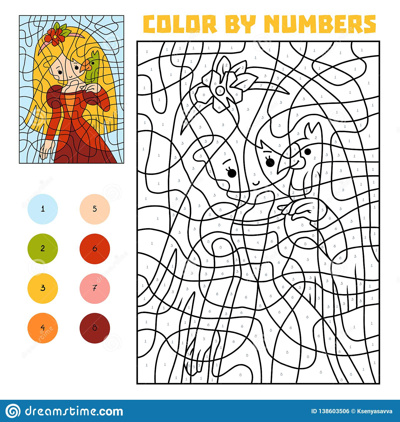 50 Great Color By Number Parrot