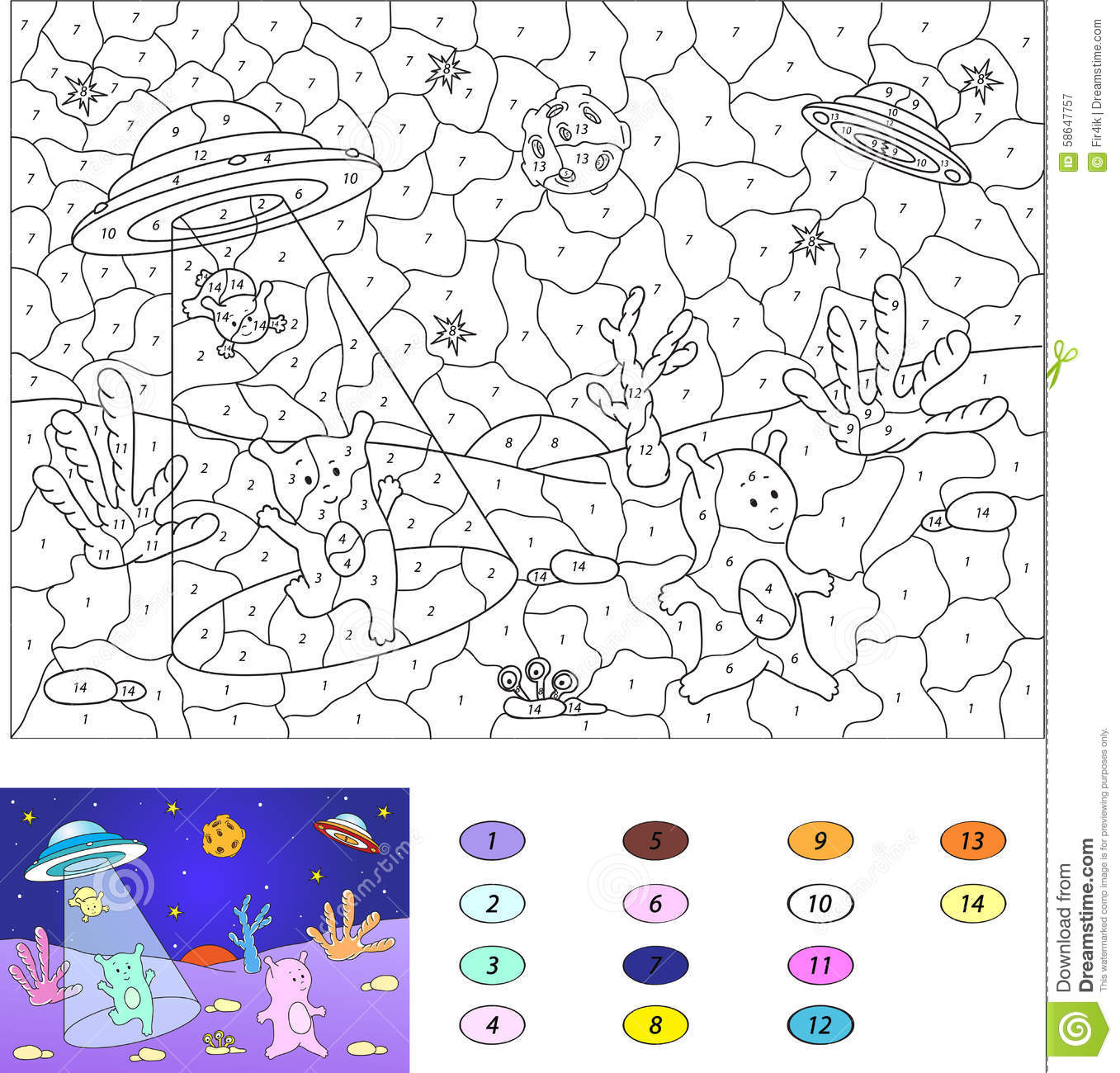 Color By Number Educational Game For Kids Cute Friendly