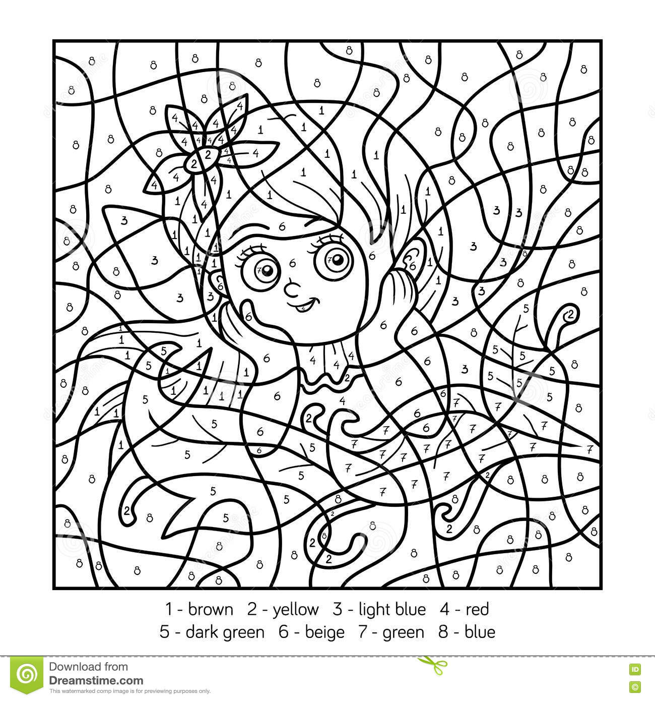 Color By Number Fairy Girl Stock Vector
