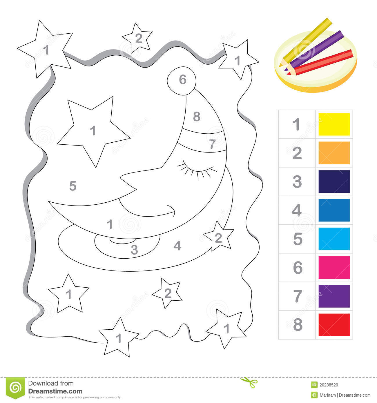 Color By Number Game Stock Photo