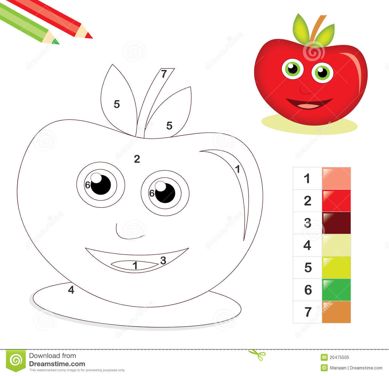 Color By Number Game With Apple Stock Illustration
