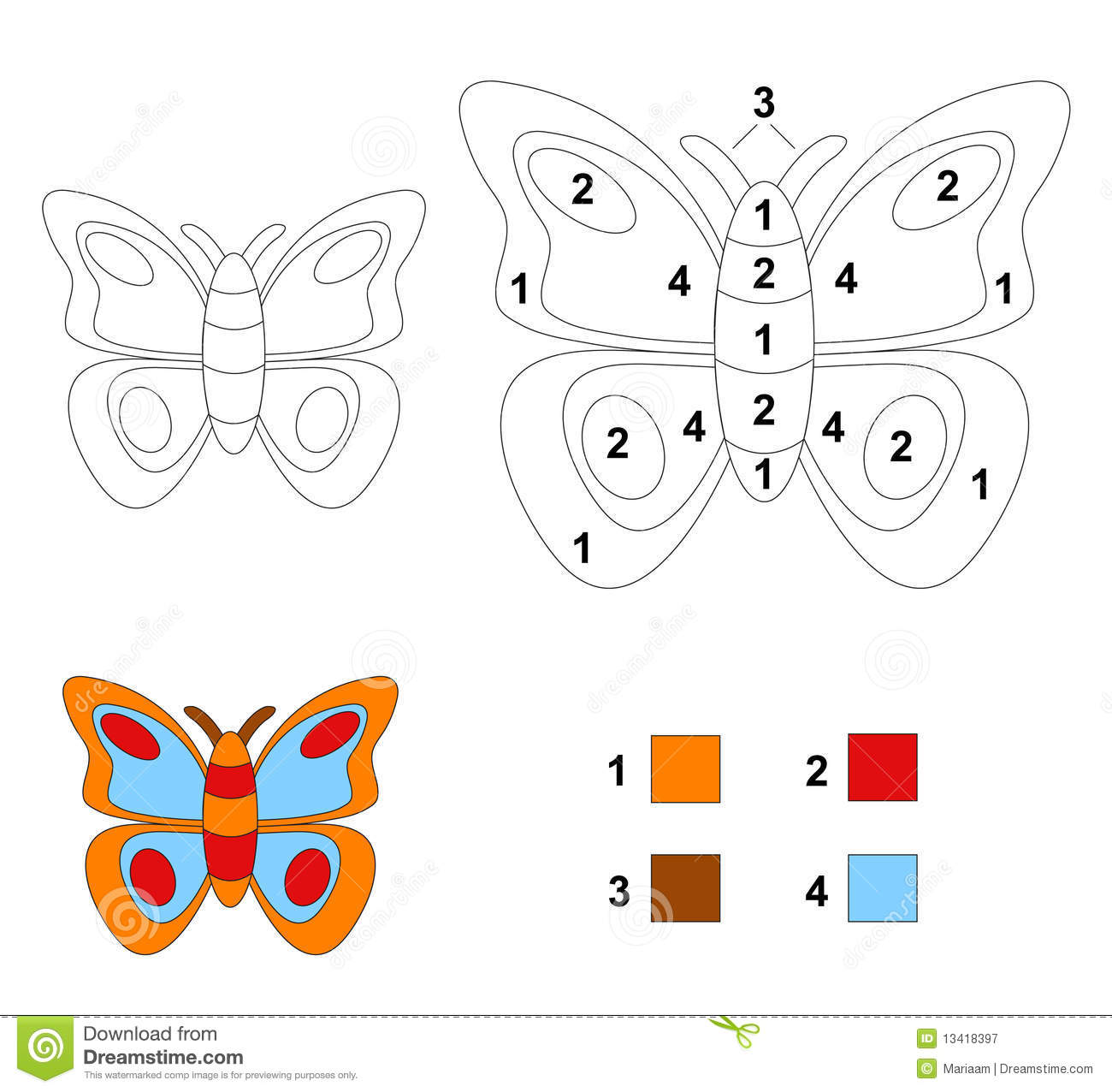 color by number game the butterfly royalty free stock photography