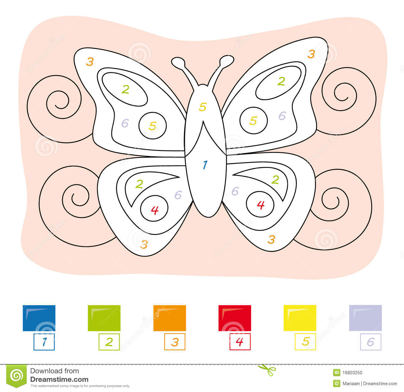 color by number game butterfly stock photo image 16803250