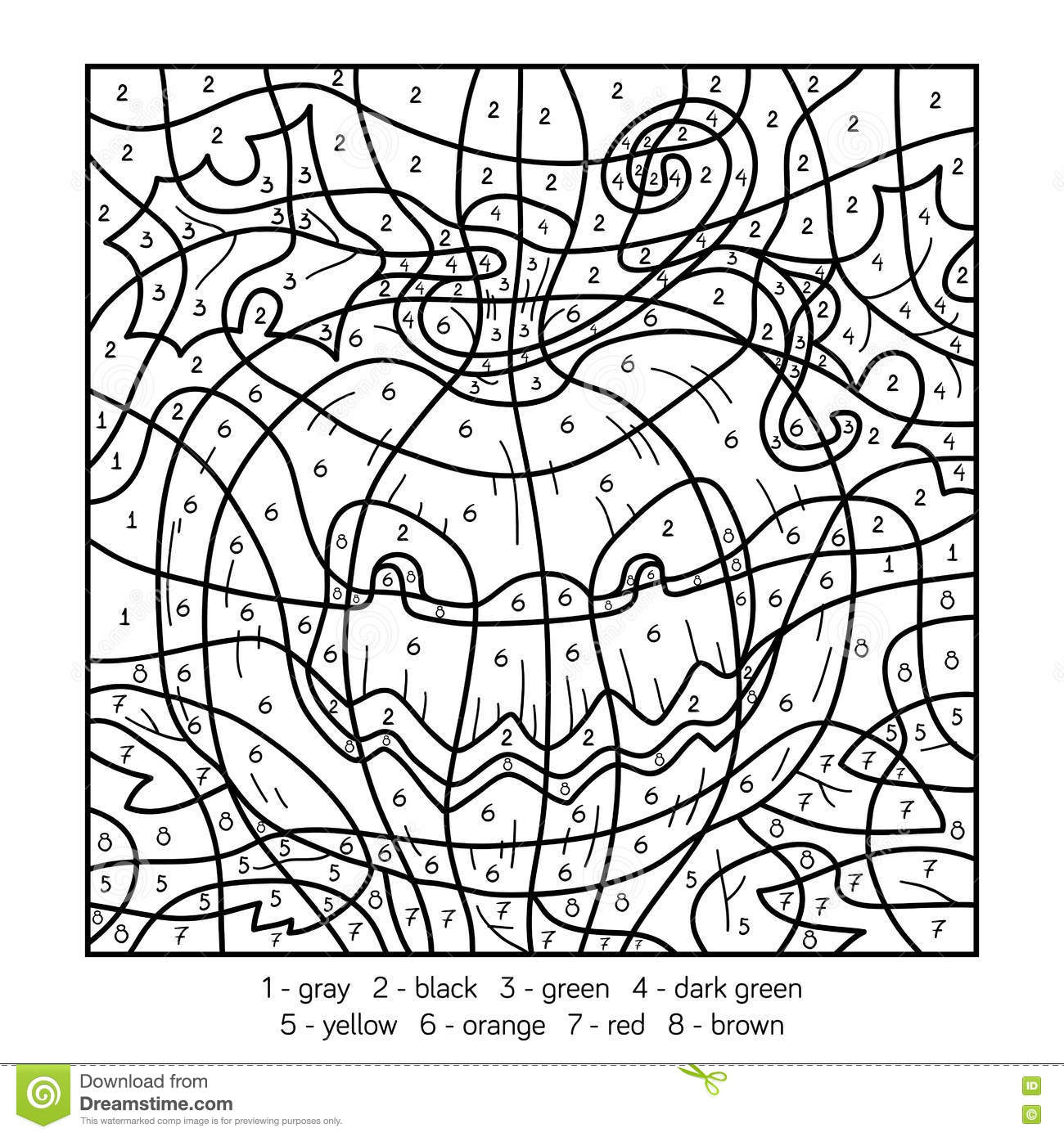 Color By Number Halloween Pumpkin Stock Vector