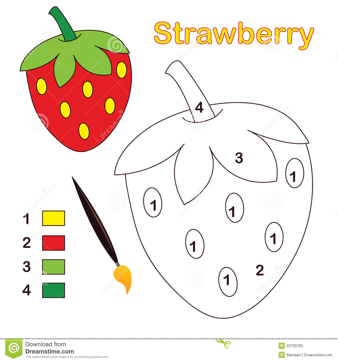 Color By Number Strawberry Stock Vector Illustration