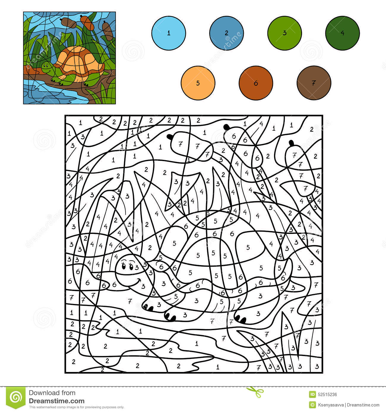 Color By Number Turtle Stock Vector Illustration Of